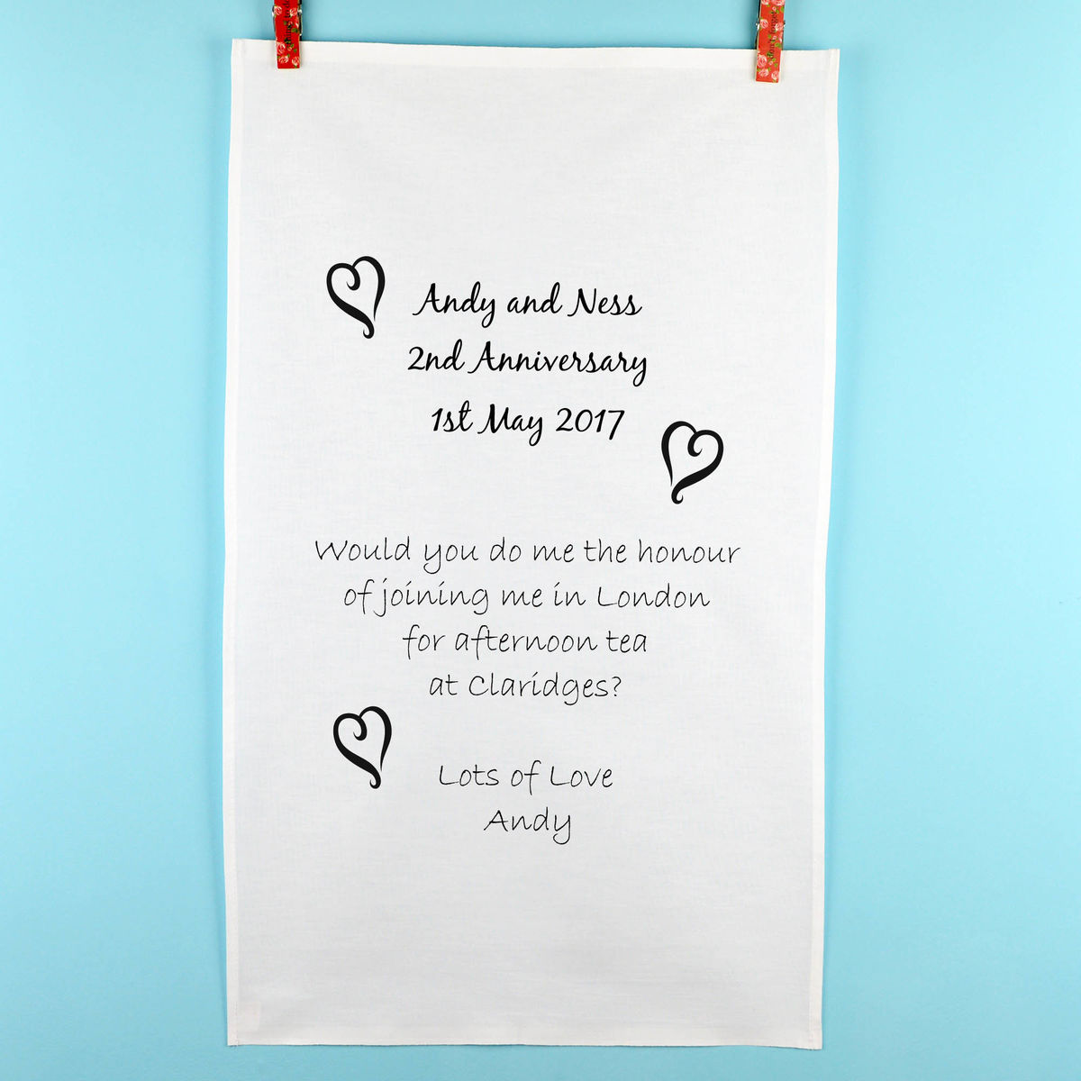 Personalised Anniversary Tea Towel - product image
