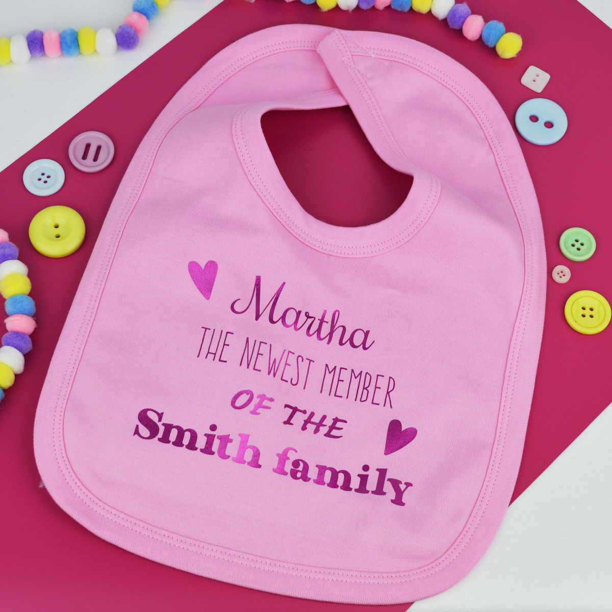 Personalised 'Newest Member' Baby Bib - product image