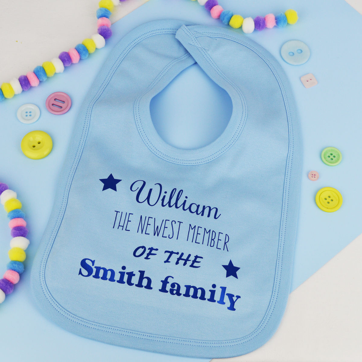Personalised 'Newest Member' Baby Bib - product images  of