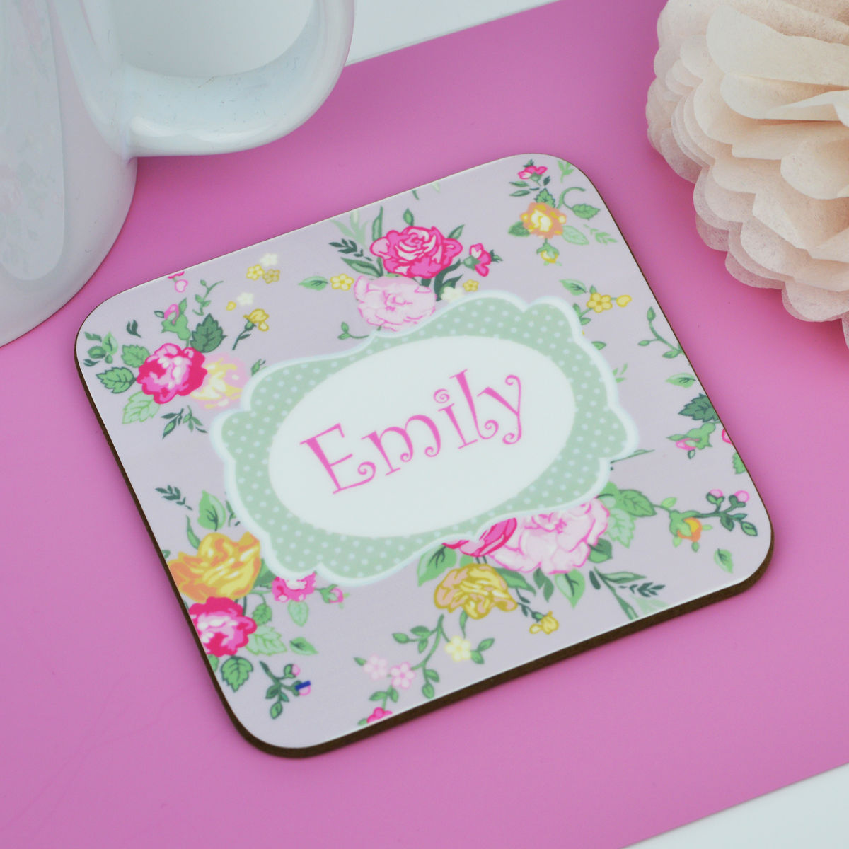 Personalised Floral Coaster - product image
