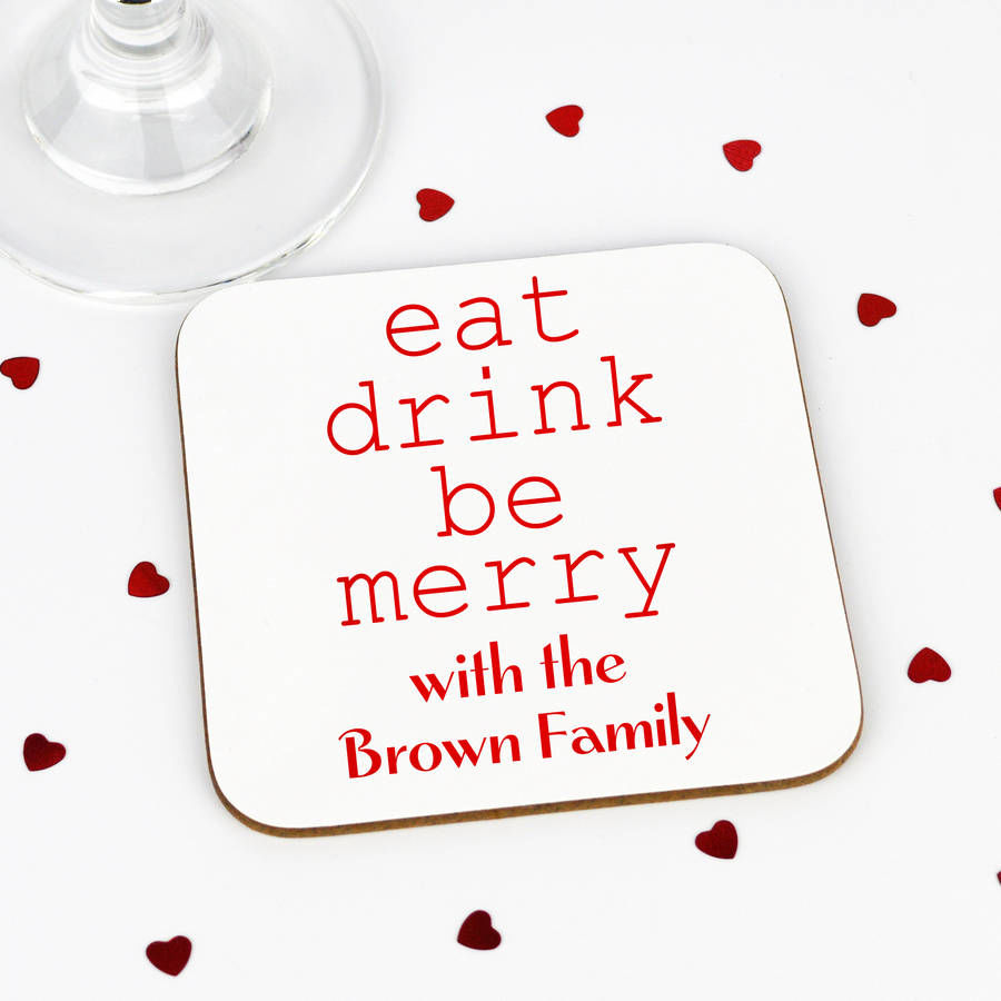 Personalised Eat Drink Be Merry Coaster - product image