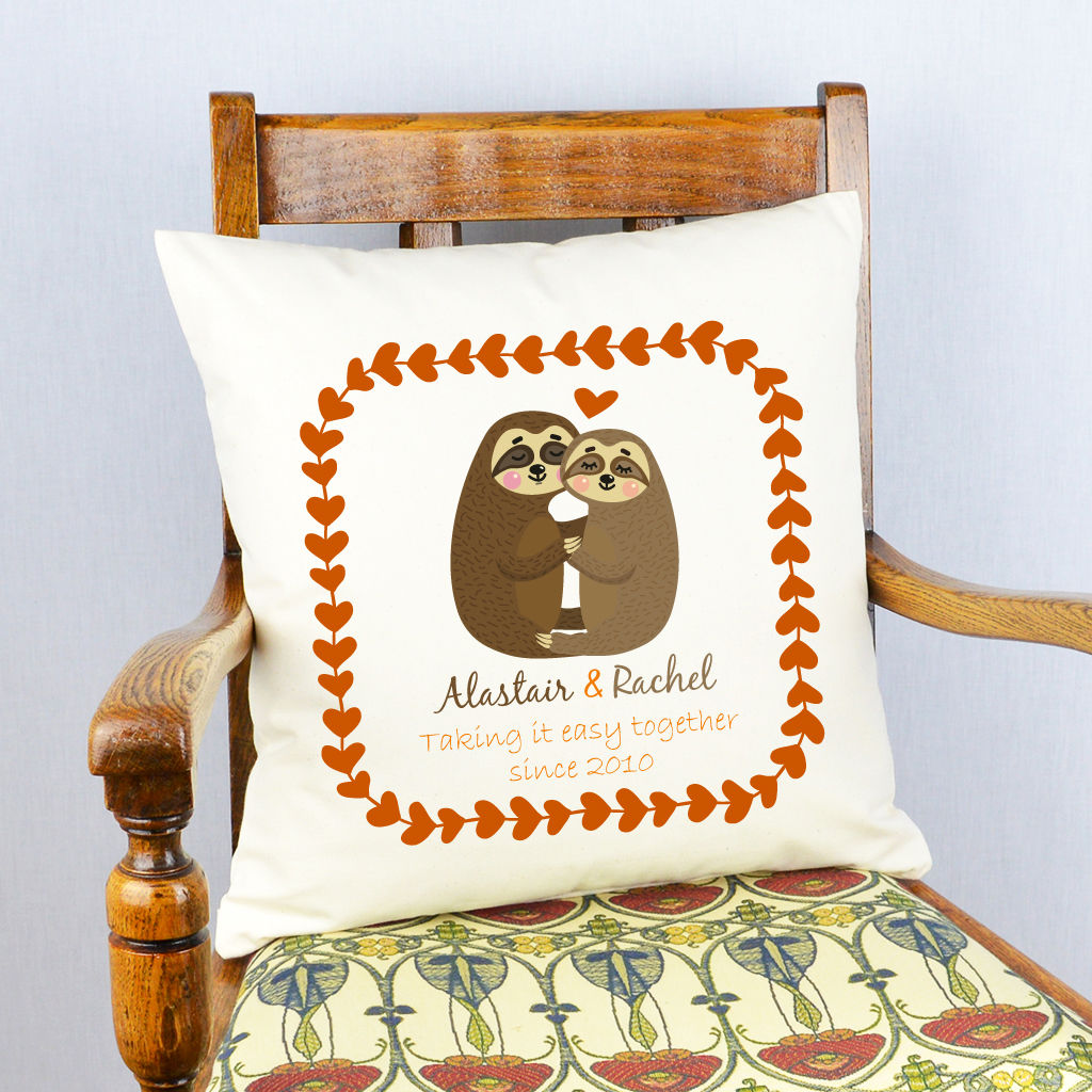 Personalised Sloths Valentine Cushion - product image