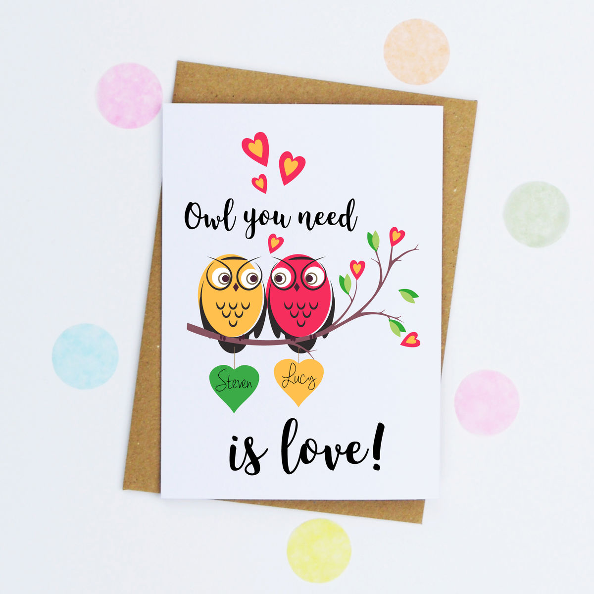 Personalised Owl Valentine's Day Card - product image
