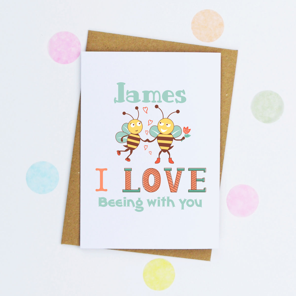 Personalised 'Love Beeing With You' Card - product image