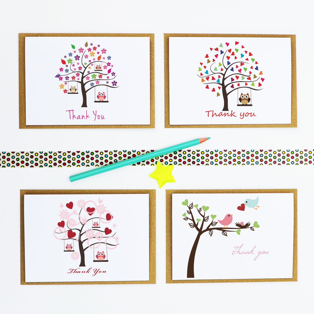 Pack Of Four 'Thank You' Cards - product image