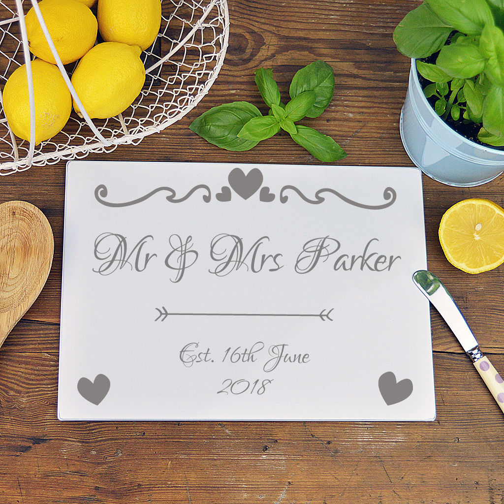 Personalised Mr And Mrs Glass Chopping Board - product image