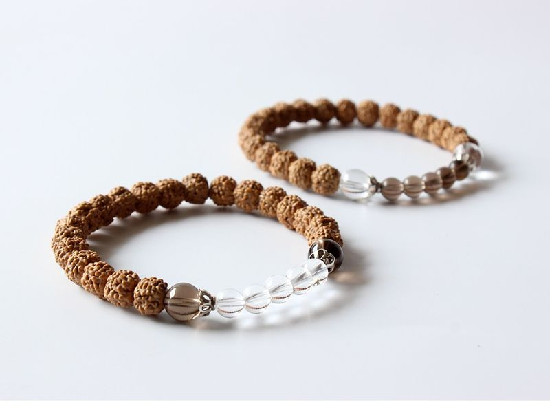 Rudraksha Bracelet with Crystal Quartz & Smoky Quartz mala bracelet - product images  of