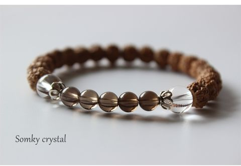 Rudraksha,Bracelet,with,Crystal,Quartz,and,Smoky,mala,bracelet,Rudraksha Bracelet, energy bracelet, everyday bracelet, japa mala, Mala bracelet, crystal quartz, smoky quartz