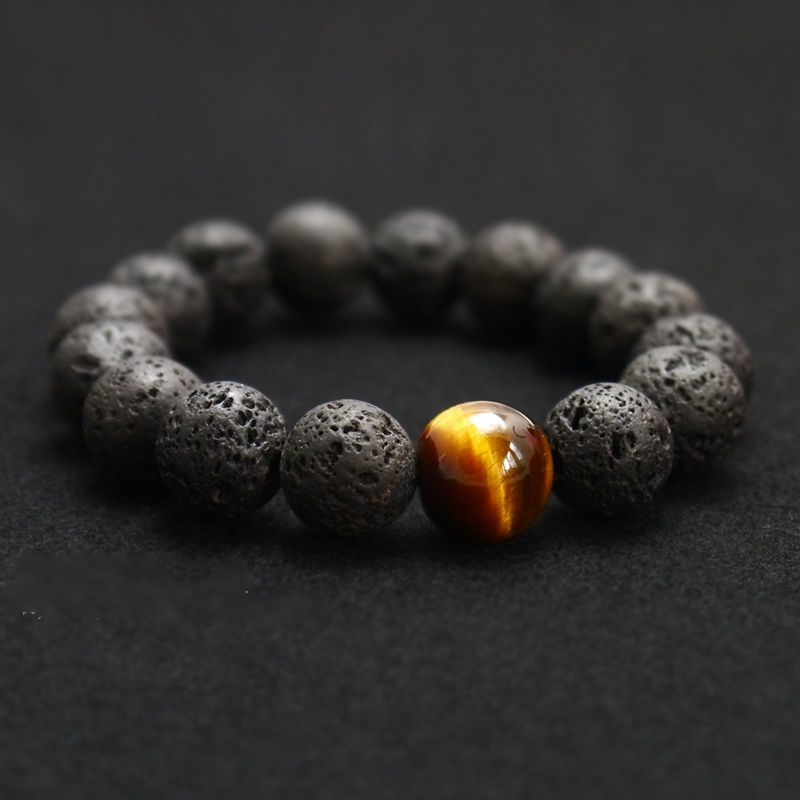 Lava with Tiger eye Bracelet, strength bracelet, energy bracelet, everyday bracelet, japa mala, Mala bracelet - product image