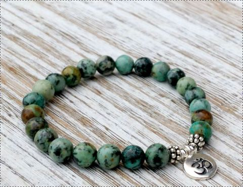 African,Turquoise,with,om,Bracelet,,strength,bracelet,,energy,everyday,japa,mala,,Mala,bracelet, Bracelet, energy bracelet, everyday bracelet, japa mala, Mala bracelet, prayer beads, 108 beads, #turquoise