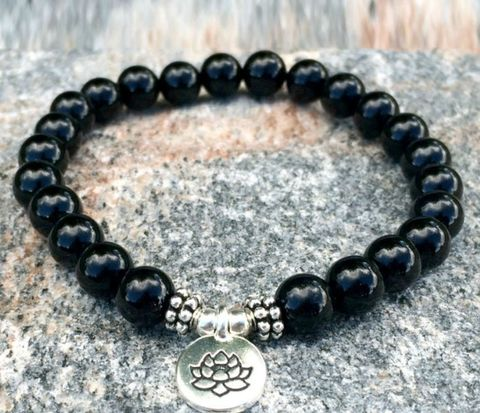 Black,Onyx,lotus,Charm,Bracelet,,strength,bracelet,,energy,everyday,japa,mala,,Mala,bracelet,Black Onyx Bracelet, energy bracelet, everyday bracelet, japa mala, Mala bracelet, prayer beads, 108 beads,