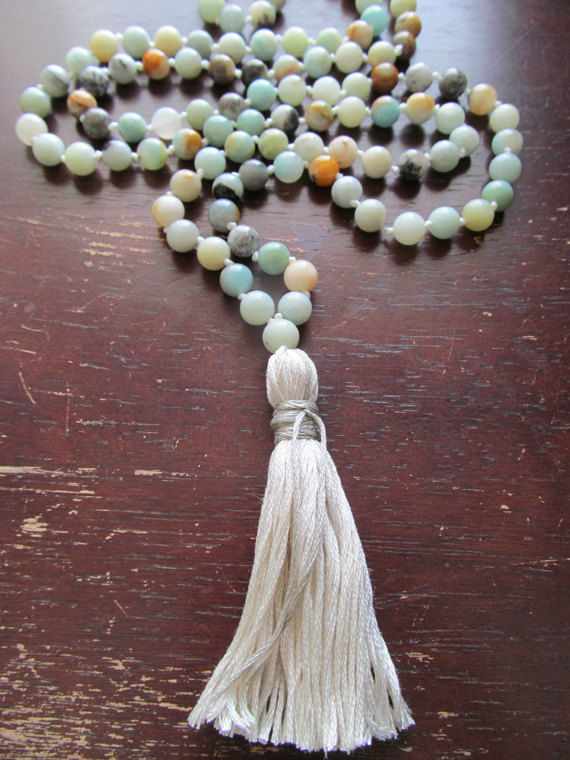 Hand knotted Amazonite prayer bead japa mala buddha beads - product image
