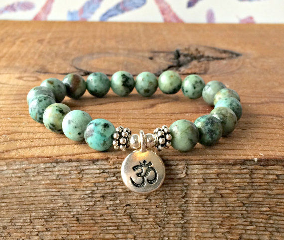 African Turquoise with om Bracelet, strength bracelet, energy bracelet, everyday bracelet, japa mala, Mala bracelet - product image