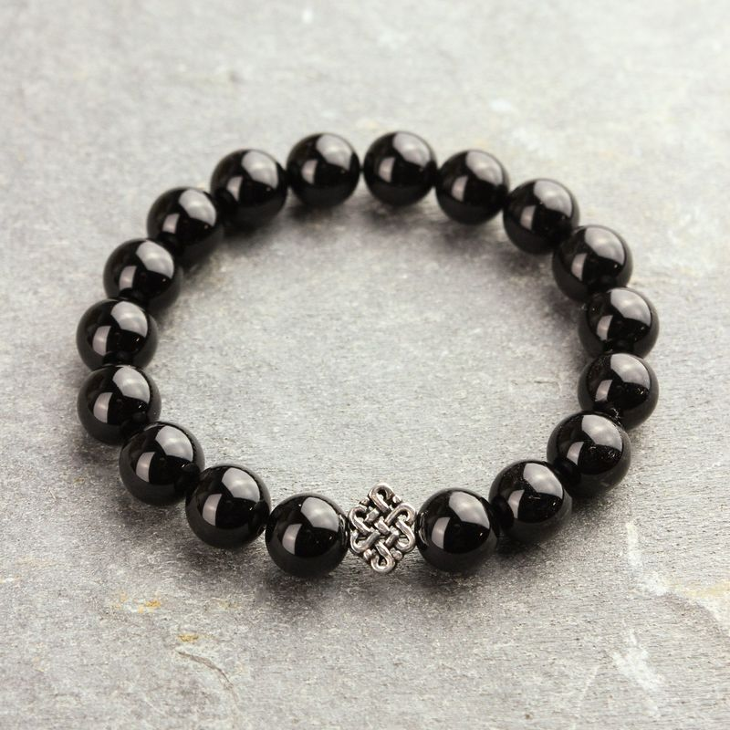 Onyx and Sterling Silver Eternal Knot Wrist Mala - product image