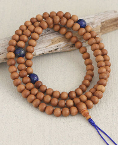 Sandalwood,mala,with,Lapis,marker,sandalwood mala, japa mala bead, prayer beads, 108 beads, buddha, hindu, mala, jewelry, yoga jewelry