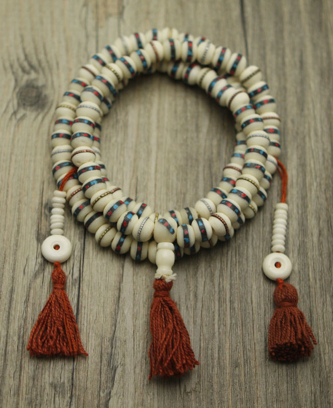 Bone Turquoise and coral Inlay mala  - product image