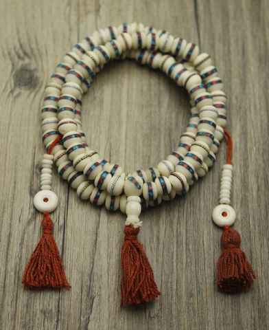 Bone,Turquoise,and,coral,Inlay,mala, bone mala, nepal, india, lord, prayer bead, japamala, mala beads,