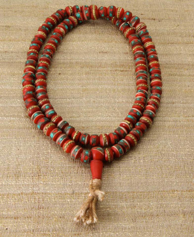 Turquoise,and,Coral,Inlay,Bone,108,Beads,Red,Meditation,Mala,mala, bone mala, nepal, india, lord, prayer bead, japamala, mala beads