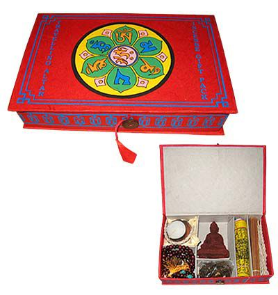 Meditation,Kit,-,Red,Color,meditation kit, jape mala, prayer beads, prayer flag, incense