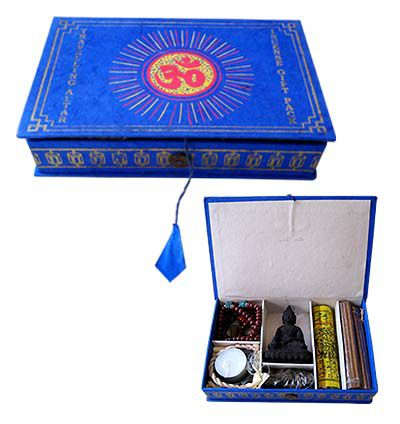 Meditation,Kit,-,Blue,color,meditation kit, jape mala, prayer beads, prayer flag, incense