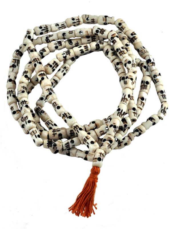 Skull White Bone Japa Mala 108 beads - product images  of