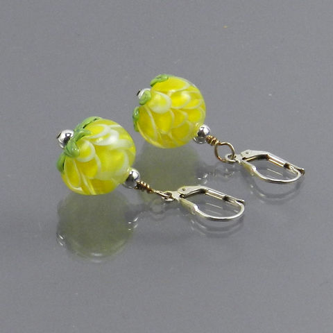 Petal,Bead,Earrings,in,Yellow,-,Made,to,Order,earring, flower, yellow, petals, floral, jewelry
