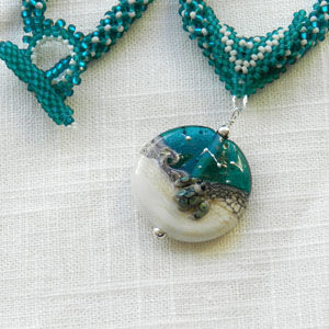 Handmade Glass and Bead Woven Turtle Necklace - product images  of