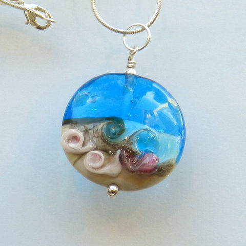 Handmade,Glass,Ocean,Bead,with,Pink,Shells,Kelley Allen, Ocean, Flameworked, glass, lampwork, Florida, bead, necklace, pendant, KAbeads