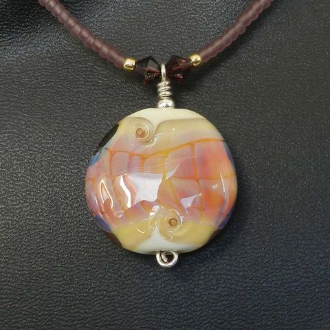 Flame,Worked,Glass,Beaded,Necklace,in,Amethyst,Flamework, Lampwork, Glass, Necklace, Amethyst, Bead, OOAK
