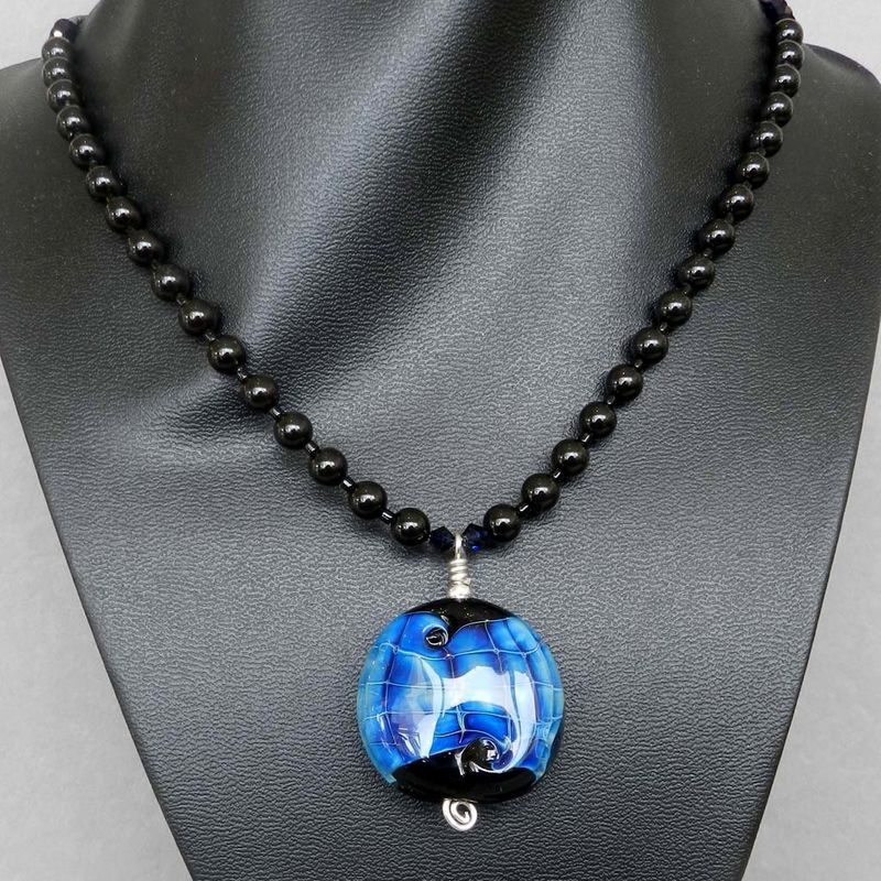Flame Worked Glass Beaded Necklace in Black - 1 - product images  of