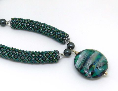 Petrol,Green,Crystal,Pearl,Necklace,Swarovski, Beadweaving, Blue, Crystal pearls, necklace