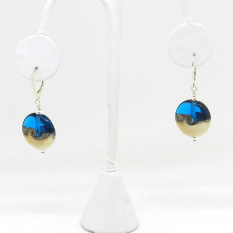 Ocean,Bead,Earrings,in,Aqua,glass, earring, ocean, aqua, blue, sea, surf, ear rings, lever back, , Kelley Allen, KAbeads