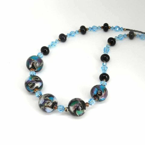 Galaxy,Bead,Necklace,Flamework, Lampwork, Glass, Necklace, Blue, Galaxy, Cultured, Pearl, Bead, OOAK