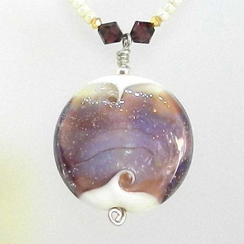 Flame,Worked,Glass,Beaded,Necklace,in,Purple,Flamework, Lampwork, Glass, Necklace, Purple, Burgundy, Bead, OOAK