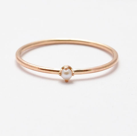 Rose,Gold,Pearl,Ring,Simple Dainty Thin Delicate Rose Gold Filled and White Pearl Minimalist Skinny June Birthstone Ring Gifts Jewelry