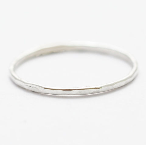 Hammered,Sterling,Silver,Ring,Small Thin Skinny Hammered Textured 925 Sterling Silver Simple Stack Stacker Ring Band Jewelry