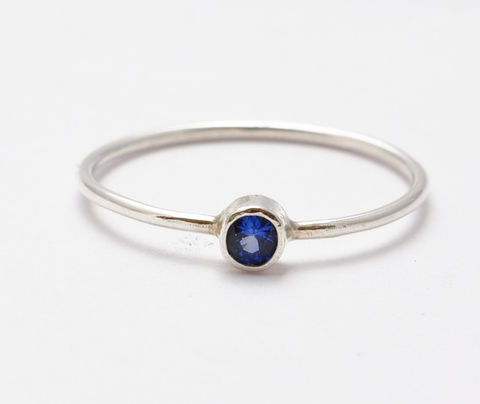 3mm,Sapphire,Ring,September Birthstone Simple Skinny Stacking Real Solitaire Blue Sapphire and Sterling Silver Rings Birthday Gifts Presents for Women