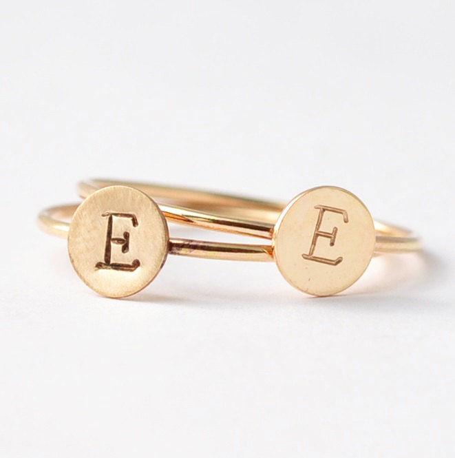 Yellow Gold Initial Ring - product images  of