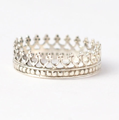 Princess,Crown,Ring,925 Sterling Silver Princess Tiara Crown Sweet 16 Birthday Ring Jewelry Gift Ideas for Teen Teenage Girls