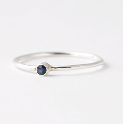2mm,Blue,Sapphire,Ring,Simple Thin Tiny Solitaire Natural Genuine Real Blue Sapphire 925 Sterling Silver September Birthstone Stacking Ring Jewelry Birthday Gift Ideas for Women