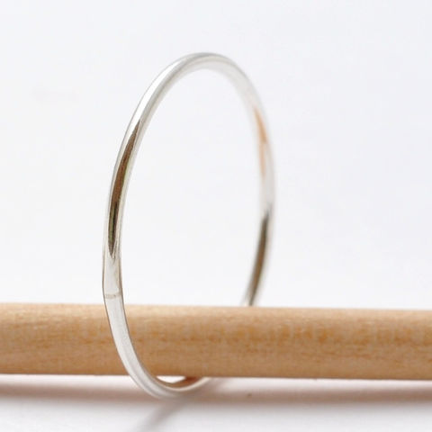 Simple,Silver,Ring,Everyday Thin Slim Skinny Plain Simple Sterling Silver Midi Knuckle Finger Stackable Stack Ring Bands