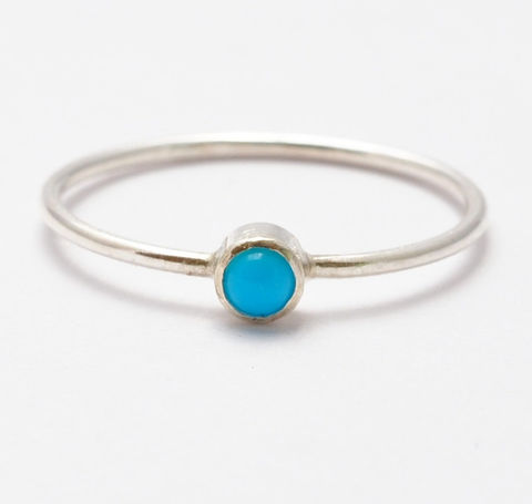 3mm,Turquoise,Ring,Simple Solitaire December Birthstone Bezel Setting Sleeping Beauty Turquoise  and 925 Sterling Silver Stackable Stack Ring Gifts