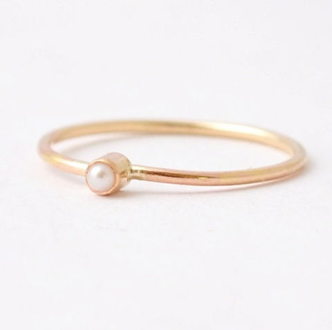14K,Gold,Pearl,Ring,Tiny Dainty Small Freshwater White Pearl Bezel Setting Solid 14K Yellow Gold June Birthstone Stackable Ring Jewelry Gifts for Mom