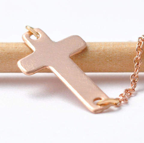 Cross,Necklace,Small Horizontal Sideways Side Cross Crucifix Religious 14K Rose Gold Filled Necklace Jewelry