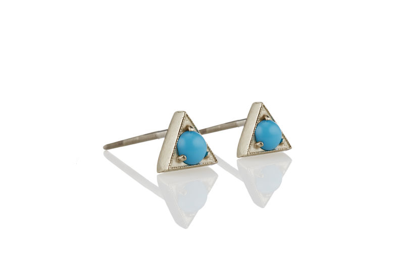 Turquoise Stud Triangle Earrings - product images  of