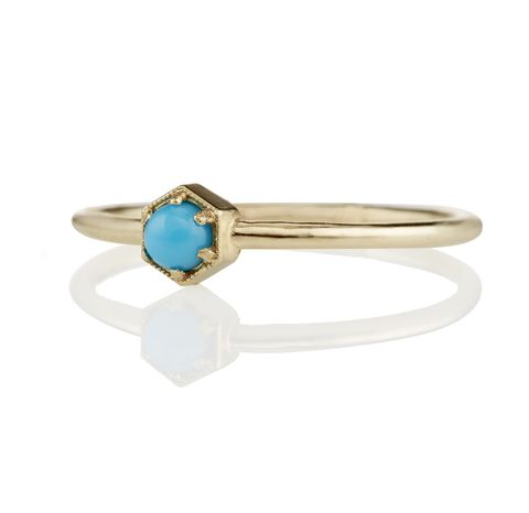 Turquoise,Hexagon,Ring,Best Unusual Unique Geometric Hexagon Setting 14K 18K Gold and Turquoise Non Diamond Engagement Ring Under 1000 Dollars