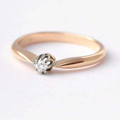 Rose,Gold,Engagement,Ring:,Vintage,Diamond,,Size,7.25/7.5,Simple Classic 14K Rose Gold Solitaire Diamond Women's Vintage Engagement Ring