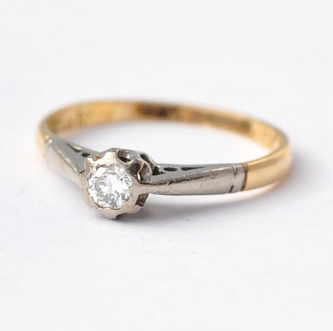 Engagement,Ring:,Vintage,Diamond,&,18K,Gold,,Size,4.5,Solitaire Modern Cut Cathedral Setting Vintage Diamond and 18K White Yellow Gold Classic Engagement Rings