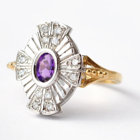 Cocktail,Rings:,Antique,Synthetic,Amethyst,,Paste,Diamond,&,Silver,,Size,7.25/7.5,Antique Vintage Art Deco Synthetic Stone Paste Diamond Gold Shield Cocktail Statement Rings Under 200 Dollars