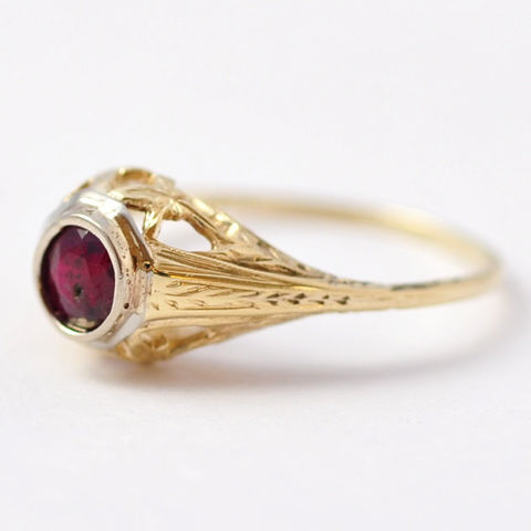 Ruby,Engagement,Rings:,Antique,14K,Gold,Filigree,,Size,7.5,Unique Antique Art Deco Real Ruby Solitaire 14K Gold Filigree Engagement Ring Gift for Her
